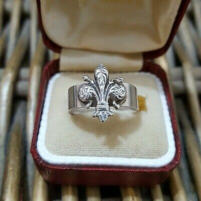 Vintage Solid Silver Ring, French Fleur-De-Lis, Purity 800, Adjustable Size