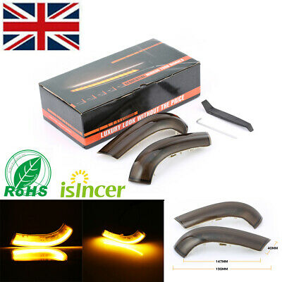 Pair Dynamic Flowing Wing Mirror Led Indicator Turn Signal Light For Vw Golf Mk5