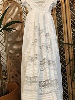 Antique Victorian Pure Cotton Christening Gown Lace French Lace