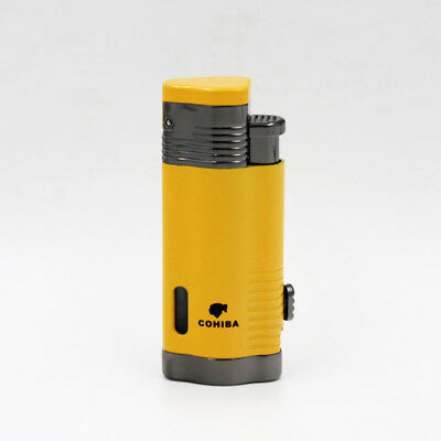 COHIBA Yellow Delica Metal 3 Torch Jet Flame Cigar Cigarette Lighter W/ Punch