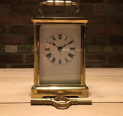 Brass & Bevel Edged Glass Carriage Clock With Key