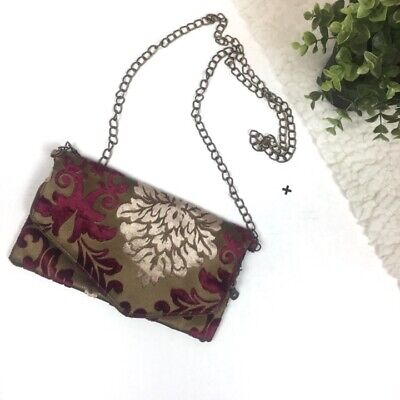 Vintage Victorian Velvet Fold Over Burgundy Chain Crossbody Mini Bag