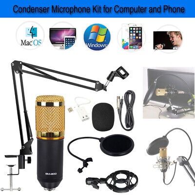 BM-800 USB Wired Studio Condenser Microphone Tool Kit For Computer iphone Phone