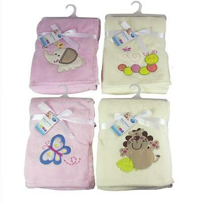 First Steps Supersoft Fleece Baby Blanket Pink and Cream 75x100cm FS412