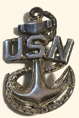 united states navy gold and sterling silver fouled anchor pin