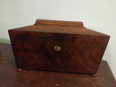 Antique Regency Rosewood Tea Caddy with key