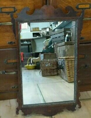 Antique Edwardian Walnut Veneer Wall Mirror Wood Frame Ornate Vintage