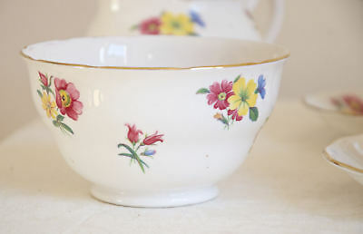 Bone china SUGAR BOWL meadow flowers decor. Vintage Royal Vale made in England