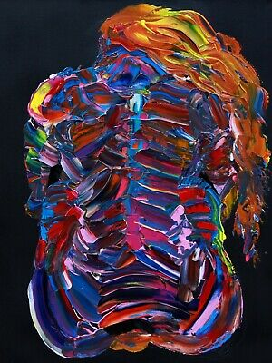 """24"""" Vivid Neon Nude Seated Woman Girl Psychedelic Original Painting on Canvas"""