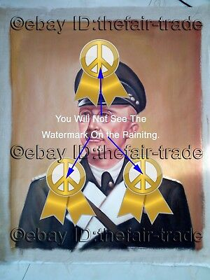 World War 2 German Collectible Hand Painted Oil Painting Canvas Germany Portrait