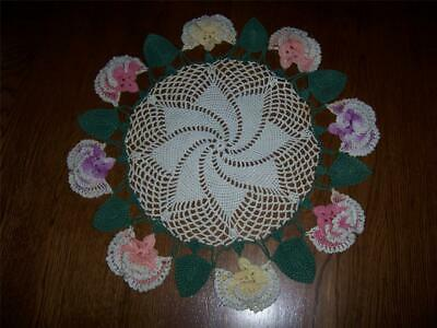 Vintage Hand Crochet Pink Purple Yellow Ruffle Pansy Flower Doily Green Leaves