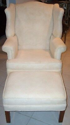 Ethan Allen Chippendale White Upholstered Arm Chair & Ottoman