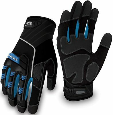 Pyramex Safety GL201 Heavy Duty Impact Work Gloves, Blue, Large, New, Free Ship