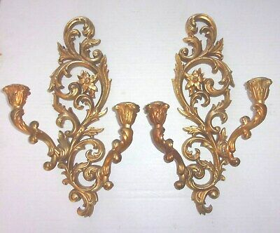 Pair of Ornate Wooden Florentine Gold Double Candle Wall Sconces
