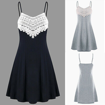 Women Crochet Lace Backless Mini Slip V-Neck Camisole Sleeveless Mini Dress CA