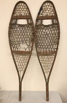 "Antique Decorative Wooden Snowshoes 11""x42.5"" Rustic Vintage Winter Snow Decor"