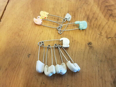 9 Vintage Baby Cloth Diaper Pins Disney Donald Duck Bear Chick White Blue Pink