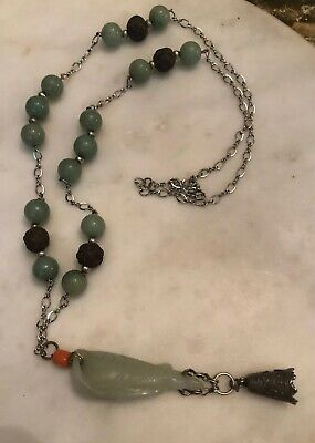 Vintage Chinese Asian Carved Jade Fish Necklace W/ Wood & Jadeite Beads Coral