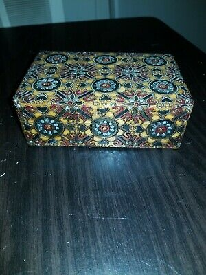 Antique wooden Ornate Music box Hand Made In Poland 20 Tooth box estate find