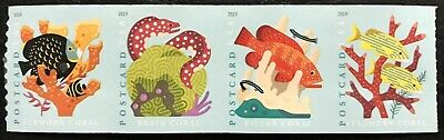 2019 Scott #5367-5370 - (35¢) - Postcard Rate - CORAL REEFS - Coil Strip of 4
