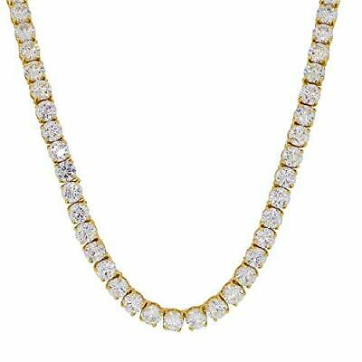 14k Gold Plated Simulated Diamond 6mm 1 Row Tennis Chain Necklace Iced Out Bling