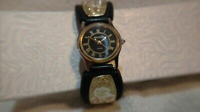 Montana Silversmiths Watch Gold Silver Plate Leather X5032 New Battery Excellent