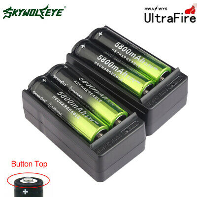 4pc 5800mAh 18650 Rechargeable Battery Li-ion 3.7V Batteries + 2X Smart Charger.