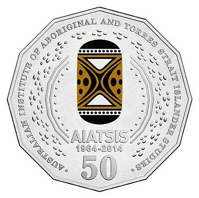 2014 • 50c • 50th Anniversary of AIATSIS • Coloured Uncirculated Coin on Card