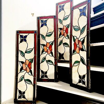 Stained glass panels 65cm x 23cm set of 4