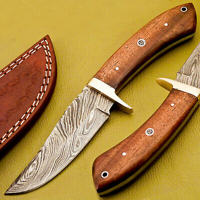 Hand Made Damascus Steel Full Tang Skinning Hunting Knife - Natural Wood - A-692