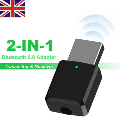 Bluetooth 5.0 Transmitter Receiver Wireless 3.5mm AUX Audio Adapter Fr Car PC TV