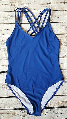 New French Connection Cross Strap Back Swimsuit sz Large in Electric Blue
