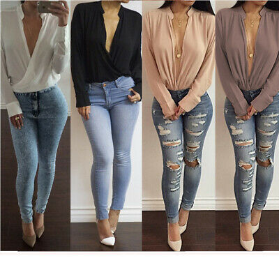 Womens casual loose sexy stand neck shirts long sleeve Deep v fashion tops new