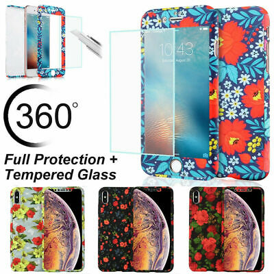 Floral Tempered Glass 360° Shockproof Case Cover For iPhone XS XR 6S 8 7 Plus