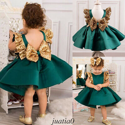 AU Baby Girls Party Dress Christmas Toddler Wedding Bridesmaid Princess Formal