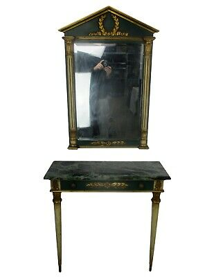 Ornate Demi Lune Console Marble Top Mirror Hollywood Regency Gorgeous Set