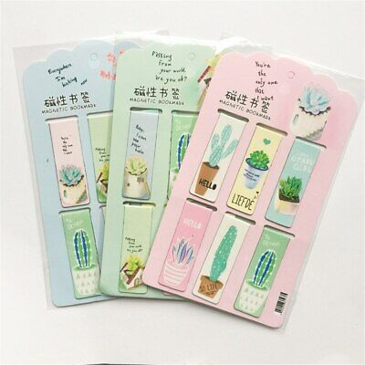 6pcs Fresh Cactus Magnetic Bookmarks Creative Book Labels Paper Page Clips