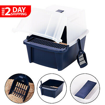 Clean Pet Cat Kitty Open Top Regular Litter Box with Shield and Scoop Navy Blue