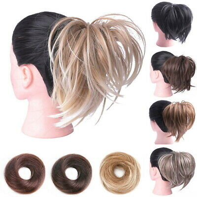 Synthetic Tousled Hair Bun Elastic Scrunchies Wrap Ponytail Extensions Straight