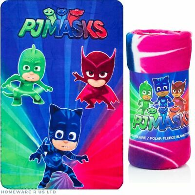Boys Childrens Pj Masks Fleece Blankets Throws Bed Baby Toddler Pushchair Cotbed