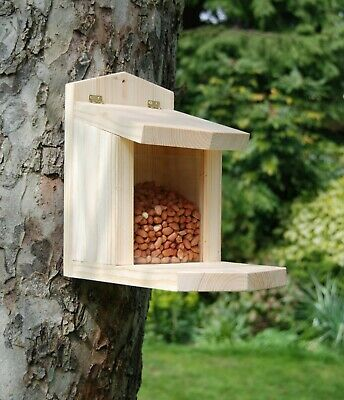 Hand Made Wooden Squirrel Feeder with a hinged lid and glass front