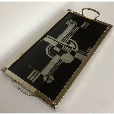 ICONIC C.1930's FRENCH ART DECO GEOMETRIC COCKTAIL TRAY EGLOMISE Reverse painted