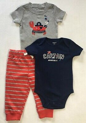 CARTERS 18M Infant Boys 3 Pc Set CAPTAIN ADORABLE, Navy Red Gray Retails $26-NWT