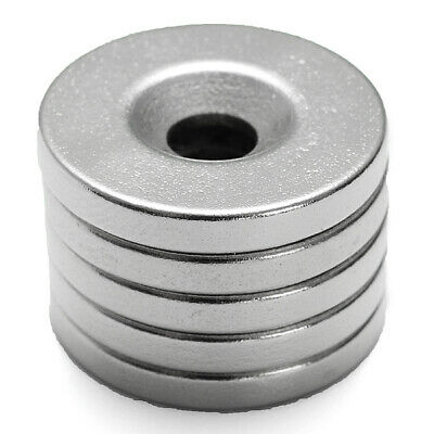 5Pcs Strong Magnets 20mmx3mm Hole 5mm Rare Earth Neodymium