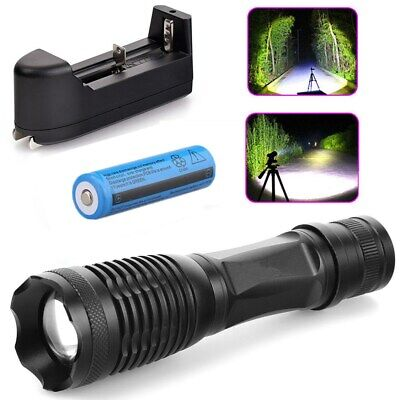 90000LM LED Rechargeable Flashlight Tactical Mini T6 Torch 18650 Battery+Charger