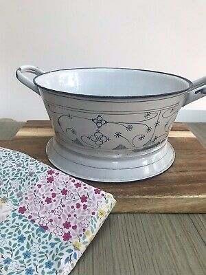 Vintage White Enamel French Kitchen Colander With Red Trim