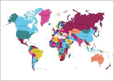 Colourful World Map Country Names Large Poster Art Print A0 A1 A2 A3 A4 Maxi