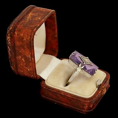 Antique Vintage Art Deco 14k White Gold Rose de France Amethyst Band Ring S 5.75