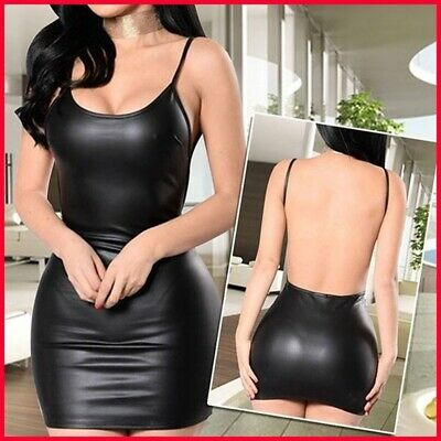 Women's Deep V-neck Summer Slim Short Skirt Latex Halter Sling Lingerie Dress