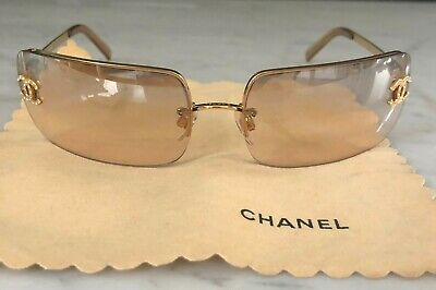 d71b586c11c11 Genuine Chanel Crystal CC rimless sunglasses gradient golden amber pre owned